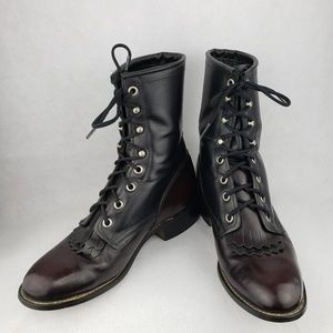 LAREDO Kilt Lace Up Leather Western Boots 7